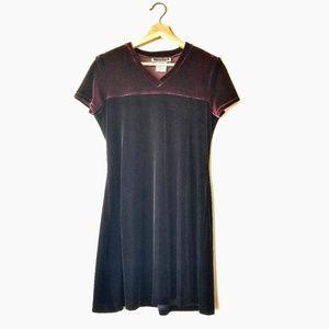 Vintage Maurice's Velvet Color Block 90s SS Dress